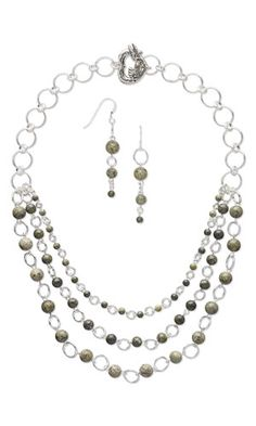 Triple-Strand Necklace and Earring Set with Russian Serpentine Gemstone Beads and Sterling Silver-Filled Jumprings