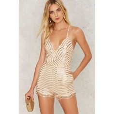 Sequin You Shall Find Plunging Romper (£60) ❤ liked on Polyvore featuring jumpsuits, rompers, gold, sequin romper, sequin rompers, playsuit romper, v neck romper and plunge romper