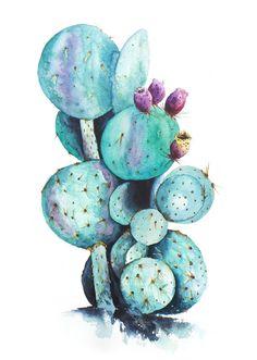 Cactus Print Of Watercolor Painting  'Cactus Love'