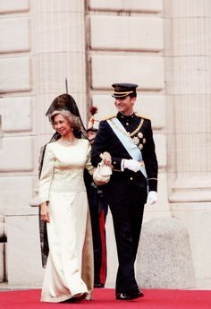 Spain's Queen Sofia and Prince Felipe of Asturias enter the Almudena Cathedral in Madrid, Saturday May 22, 2004, where Prince Felipe married Letizia Ortiz.