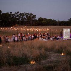Wedding in a field .