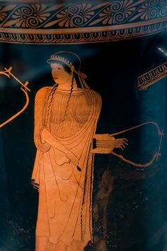 """Sappho holds a """"barbiton"""" Ancient Music, Ancient Art, Sappho Poetry, Greek Pottery, Roman Art, Greek Art, Ancient Greece, Art History, Two By Two"""