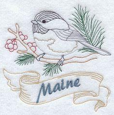 Maine - Chickadee (Redwork)