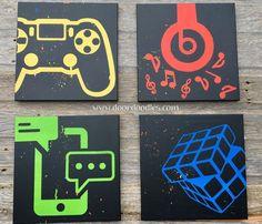 Social media canvas art, teen bedroom wall, teenager, preteen, Twitter, Gamer, PS4, Nintendo, Play Station, Wii, Beats headphones, music, Apple, cell phone, text, texting, Rubiks cube, icon, symbol  http://www.doordoodles.com/store/p413/Custom_canvas_wall_art_featuring_social_media_icons%2C_video_games%2C_music_-_your_choice_customizable%21.html
