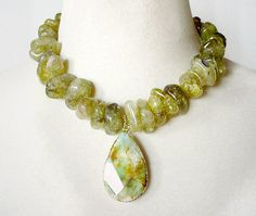 Big Bold Chunky Necklace, Gemstone Statement Necklace, Olive Green Statement Necklace, Large Bead Necklace,  Chunky Stone Necklace