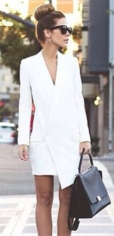 White Long Sleeve Cross Wrap V Neck Asymmetric Blazer Mini Dress