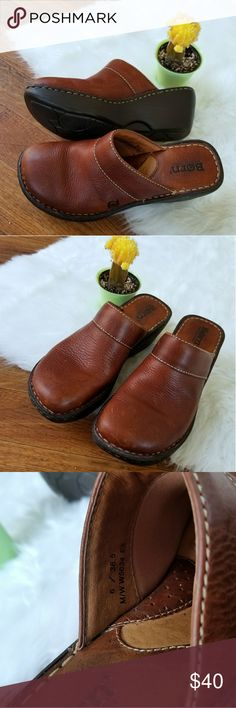 BOC BORN BROWN LEATHER PADDED CLOGS Soft genuine hand crafted slip on platform shoes. Clogs, mules. Fantastic condition, worn once. Supper comfortable worn by professional doctors and nurses. Born Shoes Mules & Clogs