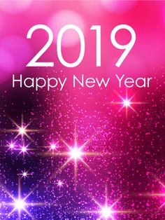 pink glow happy new year card 2019 is there a pink loving person in your life send them this star filled pink blue and purple card to celebrate the new