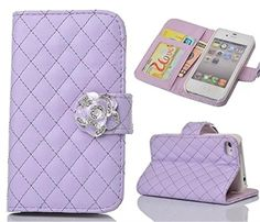 iPhone 5S Case,iPhone SE Case, Welity Purple Color Camellia Soft Leather Grid Crystal Pu Leather Wallet Case for Apple iPhone 5S/SE/5G. Compatibility: only for Apple iPhone 5/SE/5S - Verizon, AT&T, T-Mobile, Sprint. Not for other devices, compact, elegant, stylish pattern design. Ultra Slim folio type case to minimize bulk and weight. Stand Feature: Perfect for video chatting and watching movie.Can be converted easily into a stand case for video watching and messaging. Perfect: Easy snap...