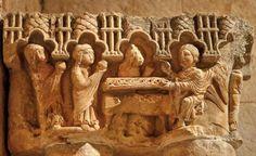 Capitel del desaparecido Claustro de Cozuelos - Santa Eufemia de Cozuelos, Olmos de Ojeda, provincia de Palencia