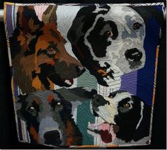Canine Power Suit by Barbara Beasley.   Art quilt. Posted at Dragon Threads blog.