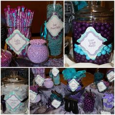 Beautiful color pallet...turquoise and purple. This would be a wonderful setup for all kinds of special occasions.