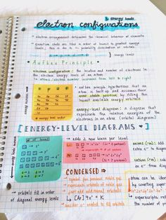||| college, university, school, student, study, notes, inspo, inspiration, motivation, notebook, chemistry, post-it
