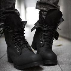 Retro Combat Boots Winter Punk Style Fashionable Men's Short Black Shoes | eBay