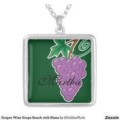 Grapes Wine Grape Bunch with Name Silver Plated Necklace - $31.60 - Grapes Wine Grape Bunch with Name Silver Plated Necklace - by #RGebbiePhoto @ #zazzle - #Grapes #Bunch #Purple - Wine grapes, purple bunch of grapes, with name field in script. A bunch of purple grapes on a vine. Forest green background gives this image a natural feel. Great gifts for wine lovers, purple and green natural theme.