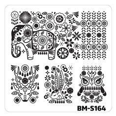 BM-S164 from @bundlemonster Fuzzy and Ferocious Set 2 cute cuddly animal designs engravings prints manicure color nail polish art stainless steel stamping plate paw cat fish owl deer rabbit monkey tiger zebra giraffe elephant turtle shark seahorse cow fox chicken