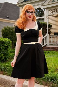 50s Dorothy Swing Dress in Black and Cream
