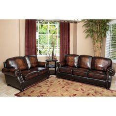 Abbyson Tannington Top Grain Leather Loveseat - Brown | Hayneedle Genuine Leather Sofa, Leather Loveseat, Western Furniture, Luxury Sofa, Nailhead Trim, Love Seat, Hardwood, Comfy, Brown