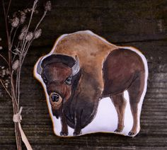 Handmade Buffalo Toy. American Bison Animal Pillow Soft Sculpture by Aly Parrott on Etsy. Ready to Ship.