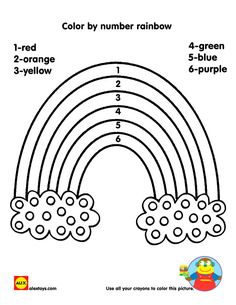 rainbow color by number page Fun Kid Printables