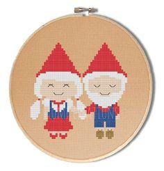 Gnome cross stitch pattern  kawaii gnome couple  by StompCreations