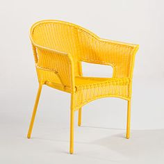 Yellow wicker chair. I found one curbside that needs a little TLC and some spray paint to make a reading chair.