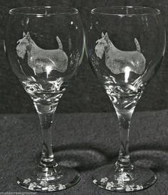 Scottish Terrier OR Scottie Dog Laser Etched Teardrop Wine Glass PR 27