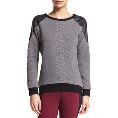 Michi Melano Textured Combo Sport Sweatshirt ($210) ❤ liked on Polyvore featuring tops, hoodies, sweatshirts, croc grey, gray top, grey pullover sweatshirt, grey sweat shirt, long sleeve tops and sports pullovers