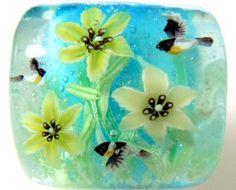 Yelloy Daylily Flower & Stonechat Bird Satake by AyakoGlassGarden, ¥6000
