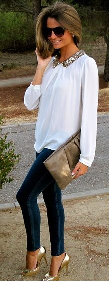 skinnys and shear white blouse with jeweled collar