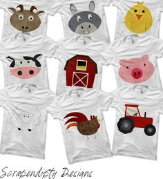 Farm Bundle Pack - Iron on Farm Shirt PDF / Pig Shirt / Goat Tshirt / Barn Printable / Farm Birthday Party / Kids Boys Clothing / Rooster by ScrapendipityDesigns, $13.50