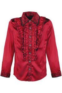 Viktorianisches Rüschenhemd mit Flockmuster - rot