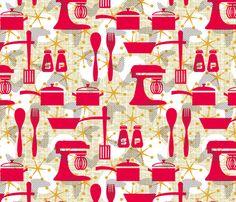 Really Retro Kitchen fabric by littlerhodydesign on Spoonflower - custom fabric