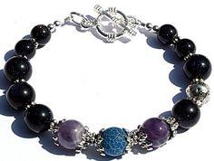 Mooie Amethyst Blue Goldstone Armband/Bracelet  Diep donker blauwe kleur met een prachtige schittering in de steen.