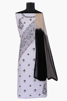 Ada #handembroidered #white  #cotton #lucknowi #chikankari  Unstitched Suit Piece – A187624