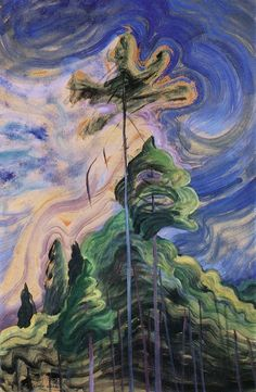 Sunshine and Tumult - Emily Carr c. 1939 Emily Carr was a Canadian artist and writer heavily inspired by the Indigenous peoples of the Pacific Northwest Coast. Tom Thomson, Group Of Seven Artists, Group Of Seven Paintings, Canadian Painters, Canadian Artists, Emily Carr Paintings, Art Gallery Of Hamilton, Art Chinois, Impressionist Paintings