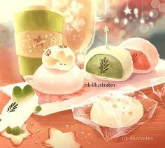 Thai Tea, Matcha, and Milk Tea Foxes © 2016 Nadia Kim *In Progress* Matc. Cute Food Drawings, Cute Animal Drawings, Kawaii Drawings, Chat Kawaii, Kawaii Cat, Art Plastic, Cream Cat, Cute Food Art, Cat Drawing