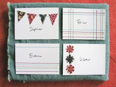 Greeting cards (or place cards if you're fancy).  http://www.designsponge.com/2010/11/sewing-101-paper-stitched-place-cards.html