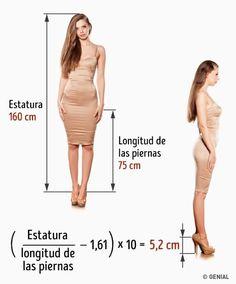 Tu medida ideal para los tacones.La esencia de esta fórmula consiste en que la altura perfecta de los tacones debería ser suficiente para obtener una proporción ideal entre la longitud de las piernas y la estatura (1,61). 3Métodos para descubrir lamedida ideal detus tacones yevitar elsufrimiento