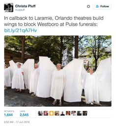"""""""Angels"""" Block Westboro Baptist Church From Disrupting Mourners At Orlando Victims' Funerals Faith In Humanity Restored Military, Baby Cosplay, Noble People, Half The Sky, Losing My Religion, Writing Pictures, Lgbt Love, Christian Memes, Heroes"""