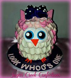 Buttercream owl smash cake - Sugar Creek Confections Owl Smash Cakes, Smash Cake Girl, Girl Cakes, Fleming Island Florida, Amazing Cakes, First Birthdays, Sugar, Baking, Birthday Cakes
