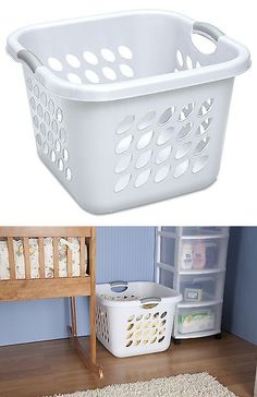 Hampers 43517 Laundry Basket White Square 6 Pack Sterilite Storage Clothes Durable Home New
