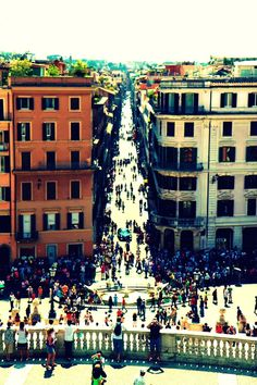 The view down Via Condotti from the Spanish Steps. The Via Condotti has been the most stylish shopping area since the 1950's
