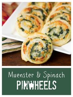 Muenster and Spinach Pinwheels | Butter puff pastry filled with spinach and cheese! @lizzydo