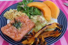 Assiette-Repas : Saumon fumé-Poivrons grillés-Melon-Etc. - Mamy Nadine cuisine...