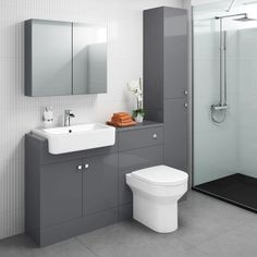 The Harper gloss grey combined vanity unit mixes modern style with clever space saving storage, including a sink & toilet! Toilet Vanity Unit, Toilet And Sink Unit, Bathroom Sink Vanity Units, Basin Vanity Unit, Toilet Sink, Bathroom Mirror Cabinet, Best Bathroom Vanities, Mirror Cabinets, Bathroom Layout
