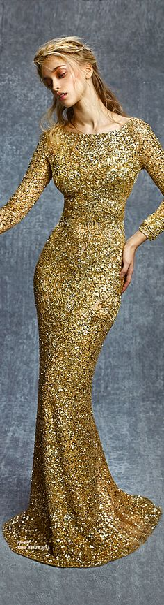 Reem Acra ~ Fall Sequined Gown, Gold 2015