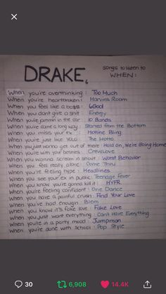 Drake Songs by How You Feel Mood Songs, Music Mood, Arley Queen, Drakes Songs, Song Suggestions, Song Recommendations, Song Playlist, Song List, Song Lyrics