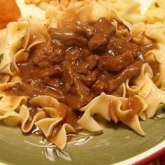 Browned stew meat and onions simmered in soy sauce and Worcestershire sauce; seasoned with garlic powder. Great served over rice or egg noodles.