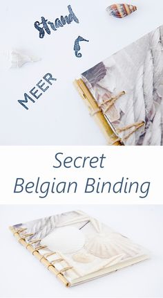Bookbinding Secret Belgin Binding Notebook mit Muscheleinband. Ein Upcycling aus Papierset und Bambusstab.